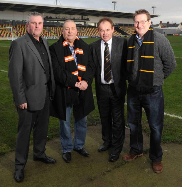 NEW MAN IN: County director of football Tim Harris (left), chairman Les Scadding (second from left) and director Howard Greenhaf (right) welcome new Exiles CEO Dave Boddy to the club