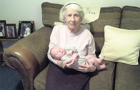 FAMILY'S ANGER: Care home resident Eileen Michael, pictured here with her great-grandson Keane Michael-Wood, has been sleeping in a wing chair for two weeks after a lift at the Ebbw Vale home broke