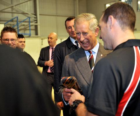 Prince Charles on a visit to Pill Millennium Centre
