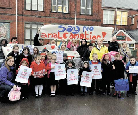 PROTEST: Parents had protested at Crindau Primary School against merging the school