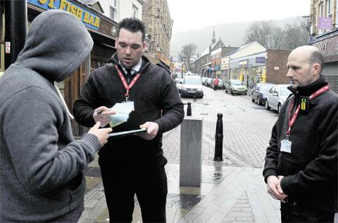 CLEAN-UP DRIVE: XFOR litter enforcement officers at work in Blaenau Gwent
