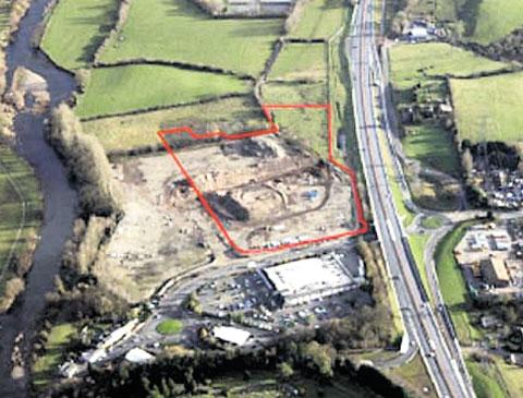 PLANS: An aerial shot of the housing on the ex-the Coopers Filters factory site in Abergavenny
