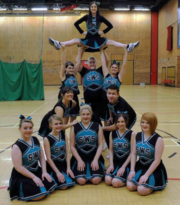 South Wales Saints Cheerleaders with team coach Kelly Ann-Bradnick (third from left)