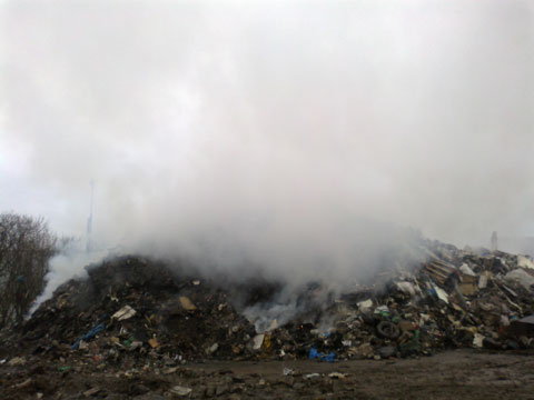 WASTE BLAZE: The fire in at a Nantyglo waste paper facility