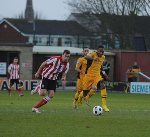 HE'S THROUGH: County's Aaron O'Connor on the way to his second goal PICTURE: SAM SHINGLER