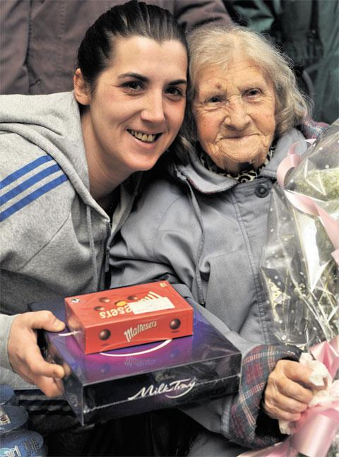 KIND GESTURE: Lily Summers, 90, from Markham, with Tara Fisher, 30, who organised a collection box at Kym's Newsagent