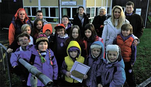 Angry youngsters and parents outside the Gilwern group's premises