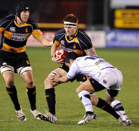 LEADING BY EXAMPLE: Andrew Coombs on the charge for Newport against Exeter