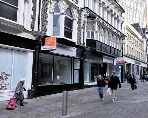 BLEAK TIMES: Empty shops on Commercial Street in Newport