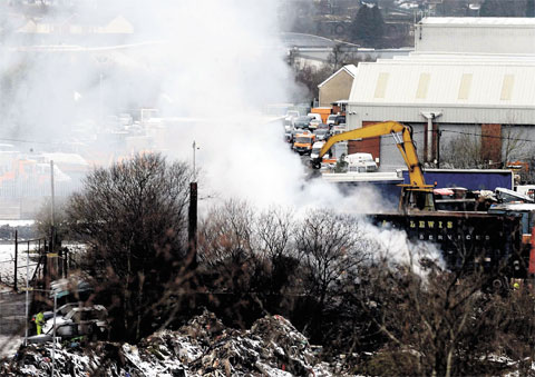 BLAZE: The fire at a Nantyglo waste paper firm