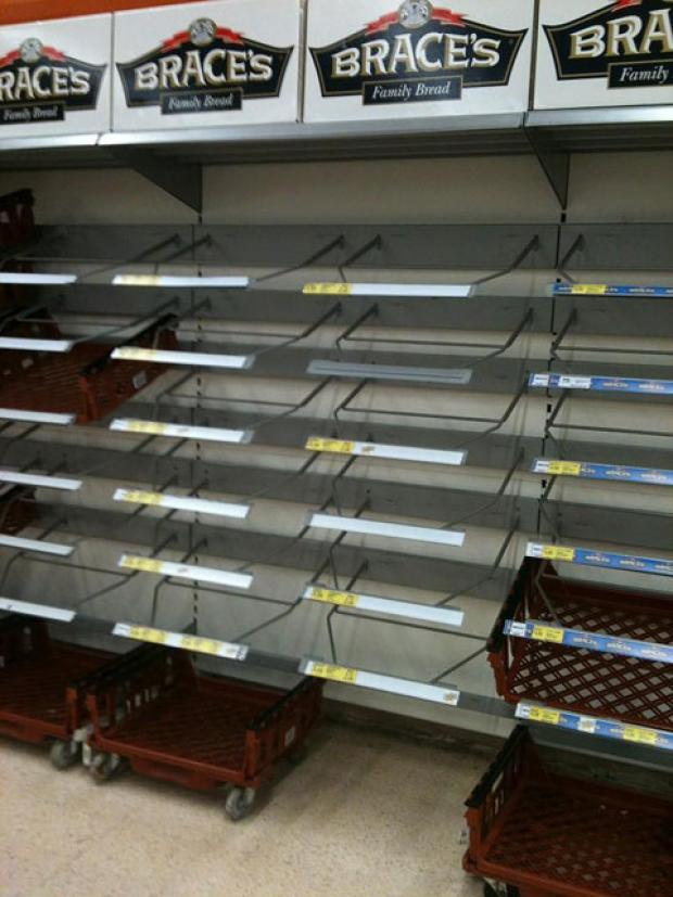 EMPTY SHELVES: An Argus reader sent in this picture of empty bread shelves in Abertillery's Tesco store