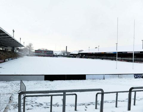 BIG JOB: Newport County need volunteers to help shift this snow from the pitch at Rodney Parade