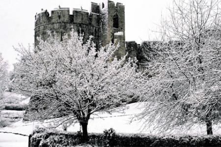 PICTURESQUE: A view of Chepstow Castle through the snow laden trees ML_13523 Picture: MIKE LEWIS
