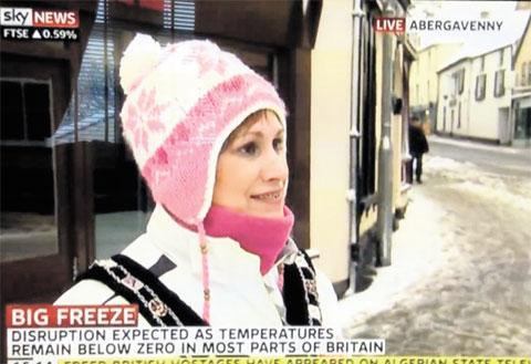 South Wales Argus: MEDIA STAR: Mayor of Abergavenny Sam Dodd is interviewed on Sky News on Friday as the red weather alert hit Wales