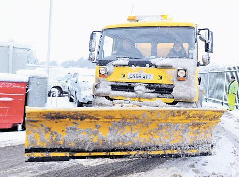 South Wales Argus: WELCOME SIGHT: A snow plough out in Monmouthshire