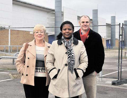 WELCOME NEWS: From left, councillors Pat Cook, Diana Ellis and Nigel Dix have been campaigning for the council to allow a supermarket on Blackwood Gate Retail park