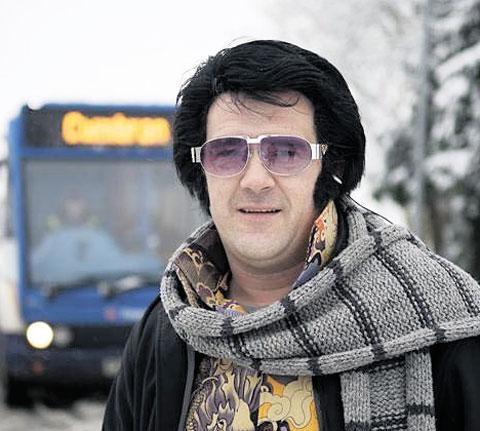 ROCK AND ROLLING: Elvis impersonator Darren 'Graceland' Jones taking part in the video