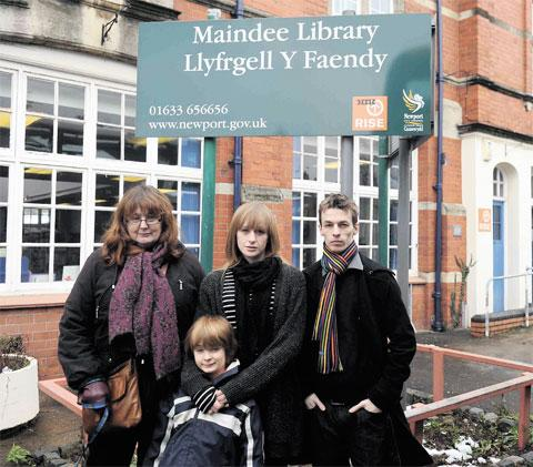 FIGHT IS ON: Jan Townsend with daughter Jo, grandson Osian and and Ben Loughton are campaigning against the closure of Maindee and Stow Hill libraries with an online petition