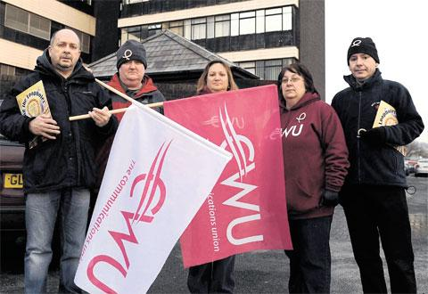 EXPLOITATION PROTEST: Union representatives outside the BT Exchange in Factory Road, Newport, from left, Gary Watkins, Dave Tee, Sharon Smith, Kate Webster and John Turnbull, all of the CWU