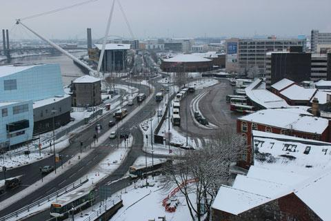 CITY SCAPE: A view of Newport city centre covered in snow taken by Ieuan Berry