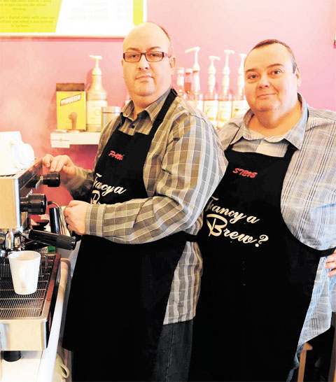 TAKING ACTION: Paul Cotton, left, and Stephen Gerrish inside their coffee shop, Brew, in Station Street, where Newport traders met