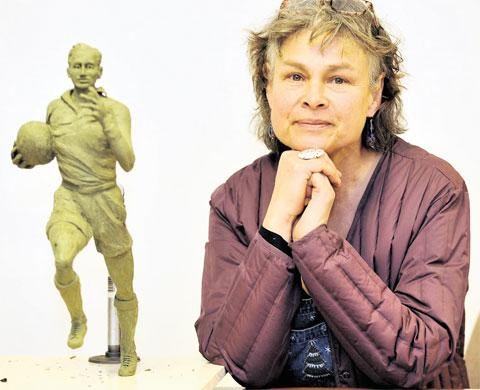 FAMILY APPROVAL: Laury Dizengremel with her mock sculpture of Ken Jones