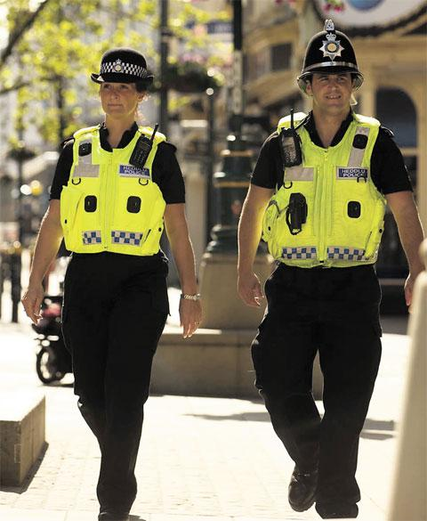 TACKLING CRIME: Gwent Police officers on duty in Newport city centre