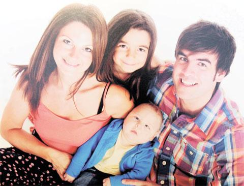 TUMOUR OP: Anthony Hard with his wife Nahella, daughter Regan, nine, and son Casey