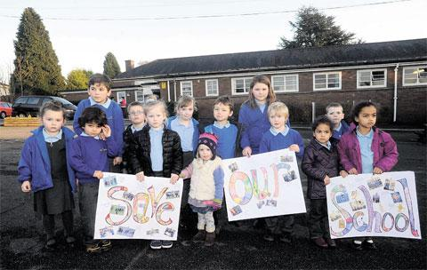 HAVING SAY: Youngsters join the protest against the proposed merger of Gaer junior and Gaer infants schools, Newport