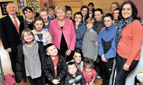 South Wales Argus: VISIT: Wales office minister Baroness Jenny Randerson with Duffryn residents along with community development officer Bob Barry, far left and livelihood worker Claudine Roberts, far right