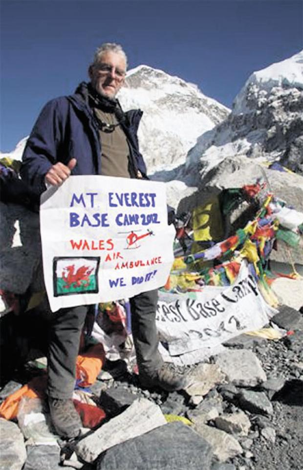 TOP OF THE WORLD: Pontypool's Pete Fry at Everest Base Camp