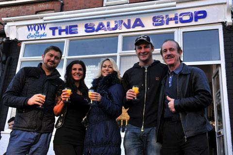 OPENING: Timothy Thorne, Melissa Calzaghe-Thorne, Kristina Rihanoff, Joe Calzaghe and Enzo Calzaghe at the opening of Wow The Sauna Shop in Blackwood