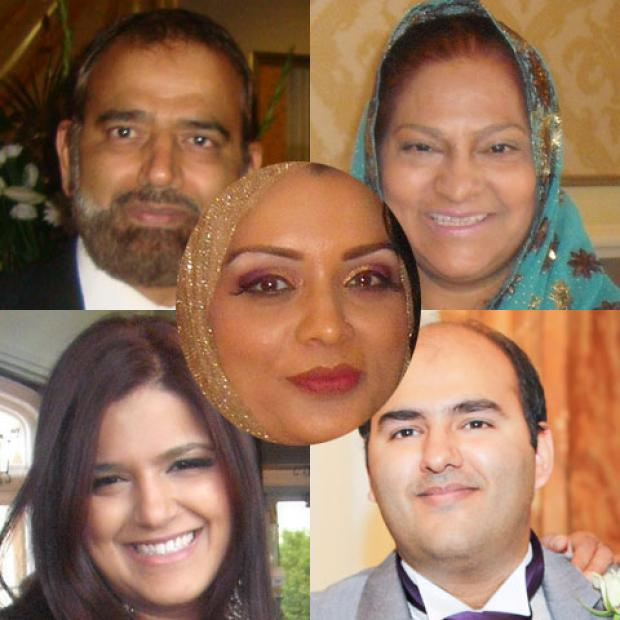 VICTIMS: Clockwise from top left Shaukat Hayat, his wife Abida, daughter Saira Zenub Hayat and eldest son Mohammed Isshaq and his wife Bilques Haya, centre