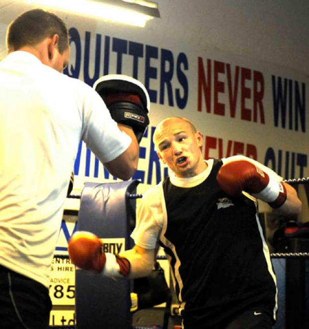 WORLD TITLE SHOT: Newbridge's Gavin Rees is put through his paces by trainer Gary Lockett