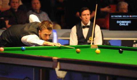 STAR STATUS: Judd Trump on his way to victory over Wales' Dominic Dale today