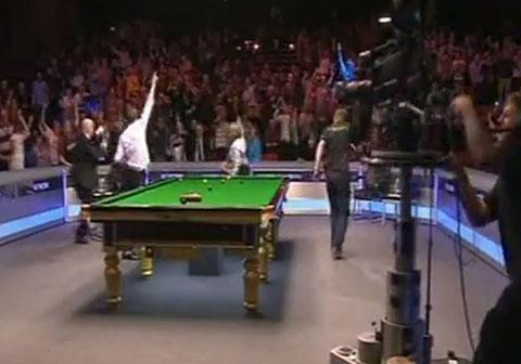 SNOOKER LOOPY: The crowd go mad for the Harlem Shake at the Newport Centre