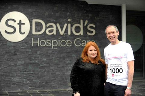 SIGNED UP: Newport AM John Griffiths with Emma Saysell of St David's Hospice Care