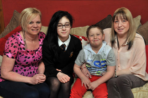Charmaine Carthew, Chelsea Jones, Ethan Jones and mum Susan Jones