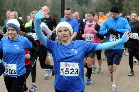 ON THE RUN: Runners brave the cold to take part in the St David's Foundation 10k in Ponypool Park