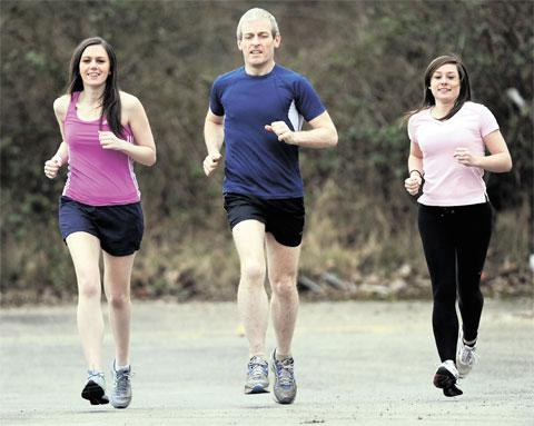 ON THE RUN: Argus journalists who will be taking part in the Newport half-marathon, Ruth Mansfield, left, Martin Wade and Natalie Crockett