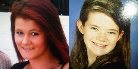 FOUND: From left; Roxanne Edwards, 15, and Shannon Bladen, 13,