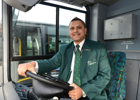 WORLD BEATING: Newport bus drivers Harmesh Chand at the wheel