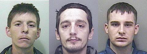 WANTED: From left; Jason Morris, Stephen Booth and John Phillips absconded from Prescoed prison