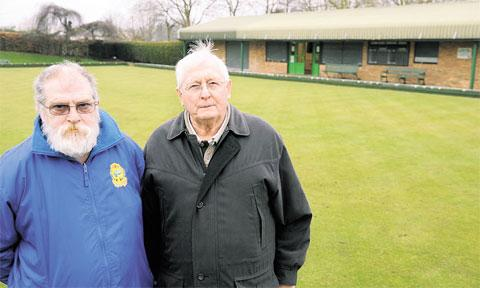 SHOCKED: St Julians Bowls Club secretary Ron Whitehead, left, and president Peter Rees
