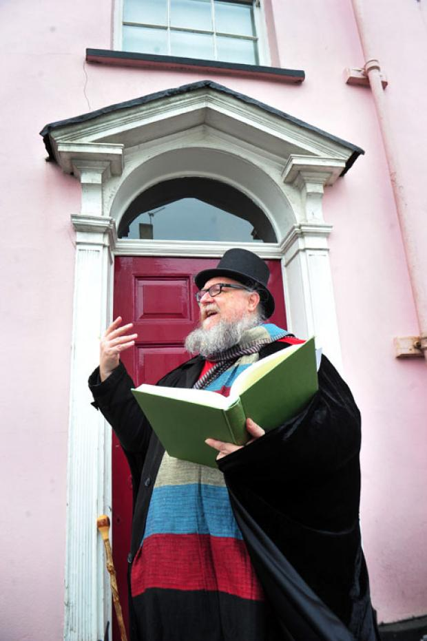 COMIC COME-ON: Newport poet Goff Morgan launches the All Wales Comic Verse competition outside Caerleon author Arthur Machen's birthplace
