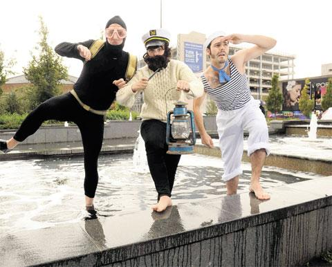FUN GOES ON: Justin Cliff, Georgina Harris and Antonio Rimola, of the Tin Shed Theatre Company, getting ready for their performance at the Comedy Port Festival last year
