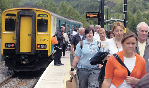 POPULAR: Passengers at Ebbw Vale Parkway station
