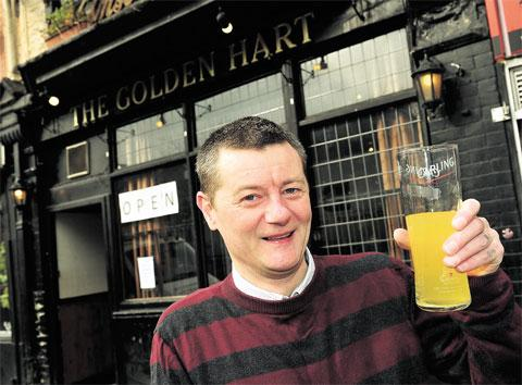 CHEERS: Nick Portman is the landlord of the newly re-opened the Golden Hart on Cardiff Road, Newport