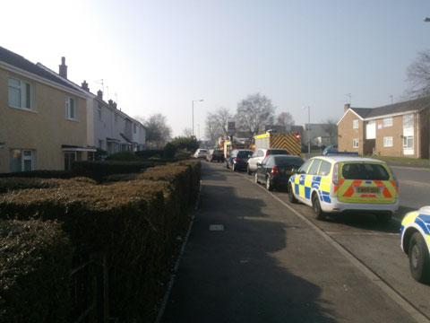 SCENE: Firefighters on Henllys Way, in Cwmbran after being called out over a gas leak