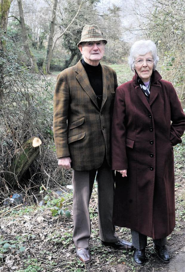 CONCERNED: Edna Evans and Councillor Noel Trigg, who are worried about the rubbish dumped in Bettws, Newport